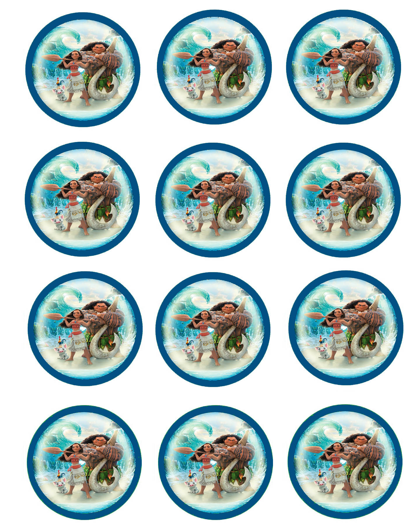 graphic relating to Printable Moana referred to as Moana Cupcake Toppers Birthday Printable