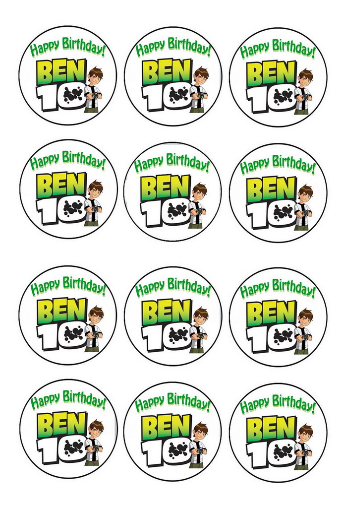 Ben 10 Cupcake Toppers Birthday