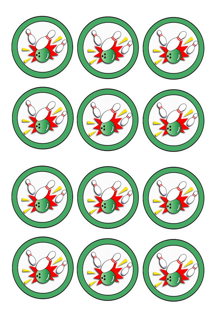 Bowling Cupcake Toppers Birthday Printable
