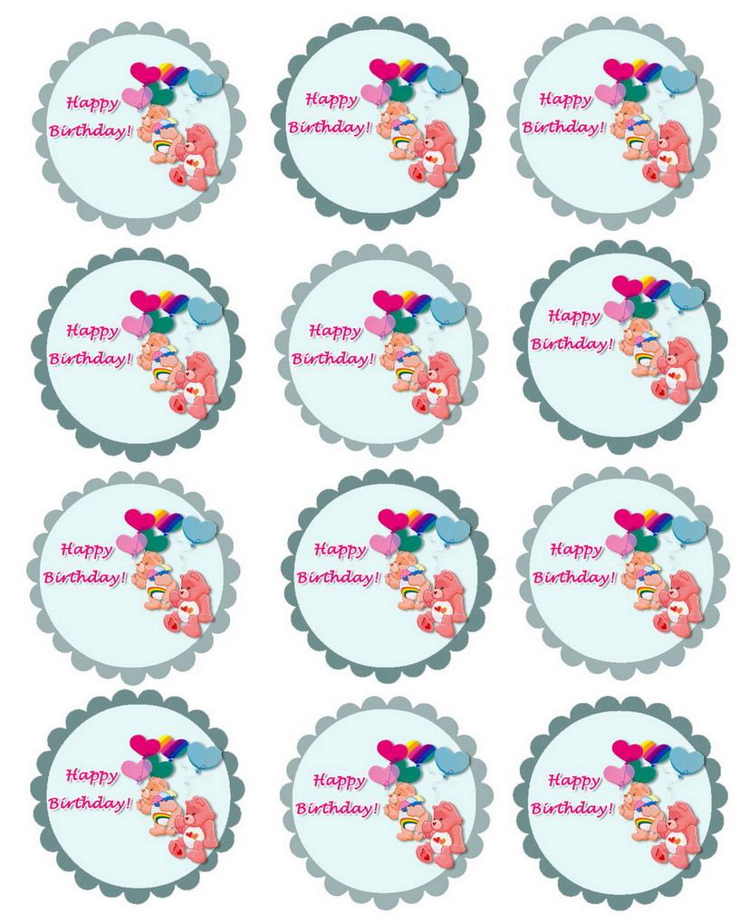 Care Bears Cupcake Toppers Birthday Printable