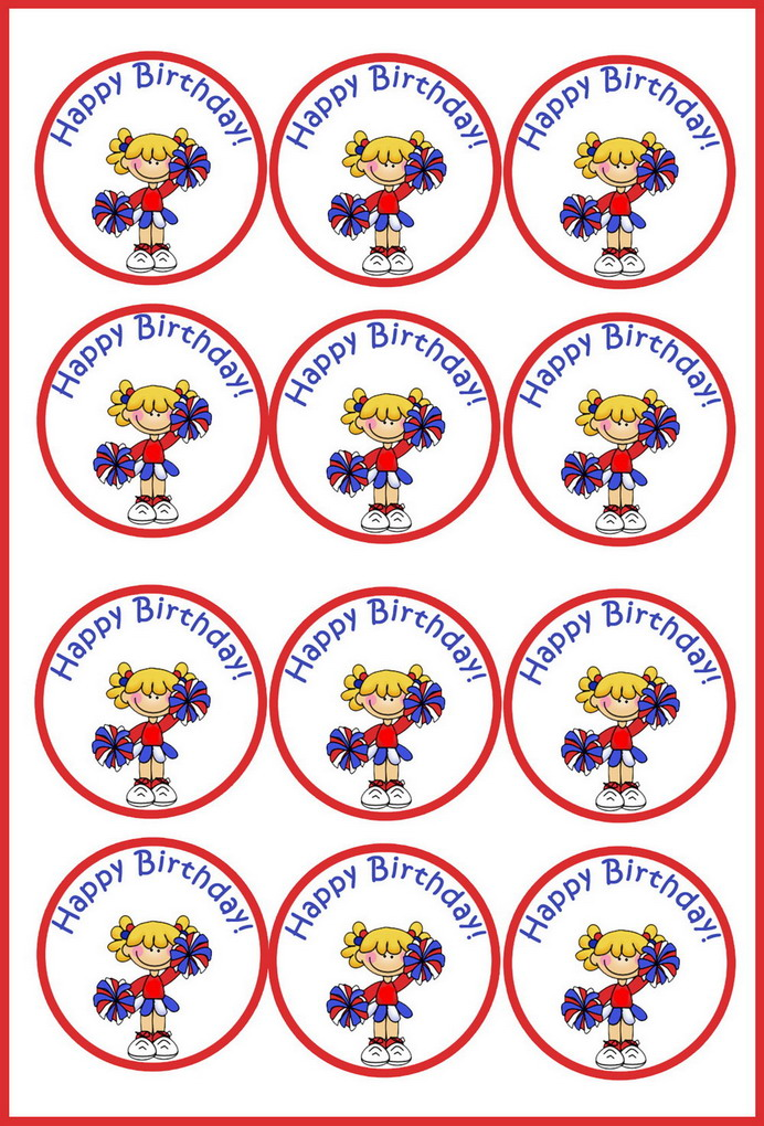 Cheerleading Cupcake Toppers Birthday Printable