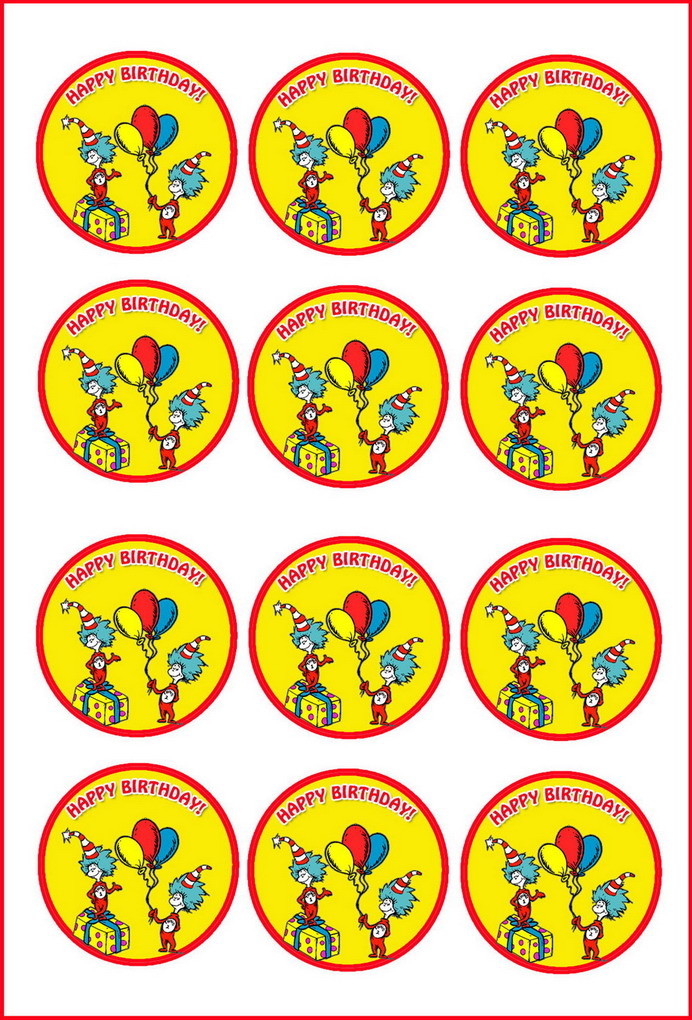 Dr Seuss Cupcake Toppers Birthday Printable