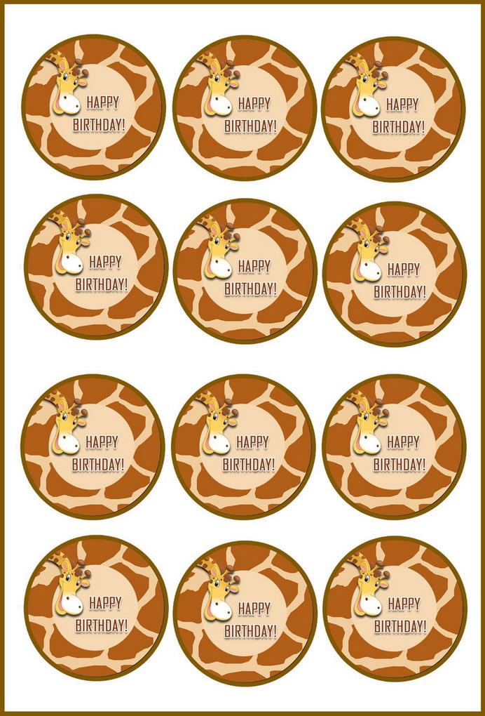 Giraffe Cupcake Toppers Birthday Printable