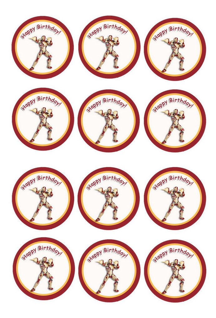 Iron Man Cupcake Toppers Birthday