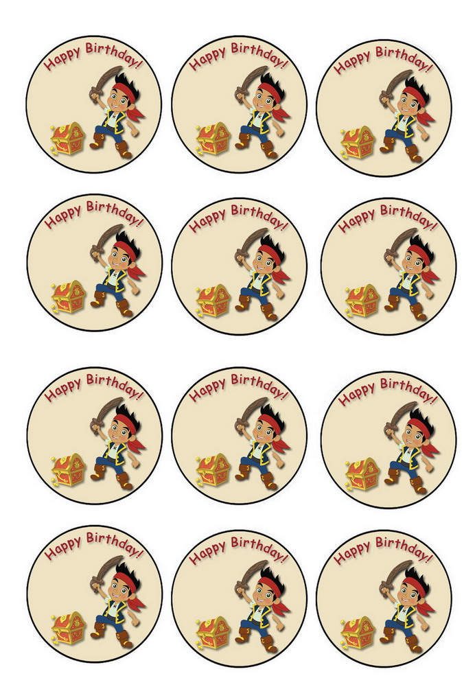 Jack And The Neverland Pirates Cupcake Toppers