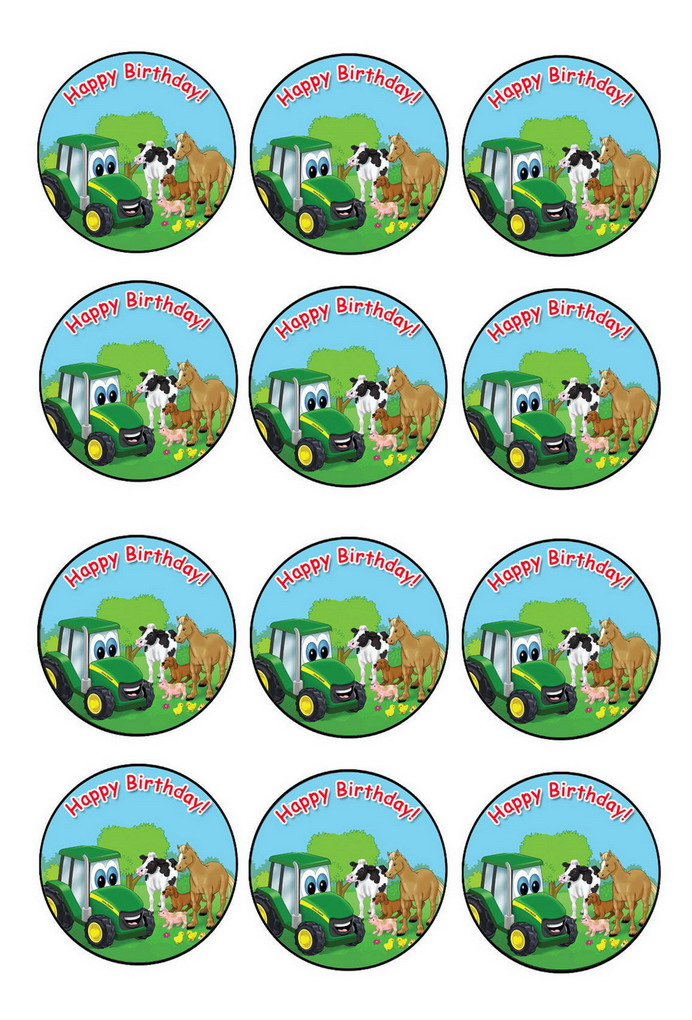 It's just a picture of Shocking John Deere Cupcake Toppers