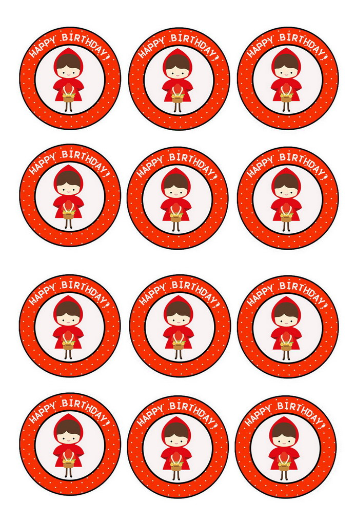 Little Red Riding Hood – Cupcake Toppers – Birthday Printable