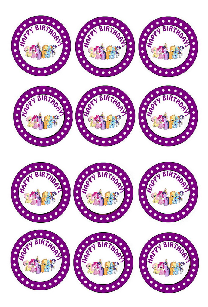 Little Pony Cupcake Toppers Birthday Printable