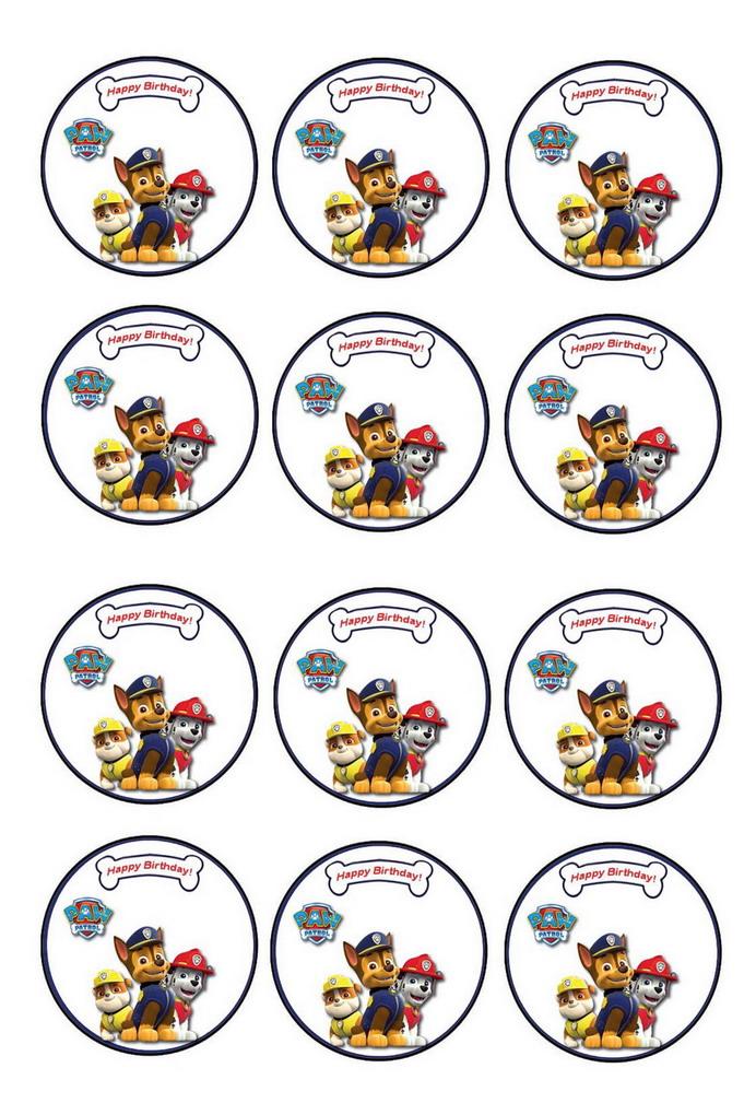 graphic relating to Paw Patrol Printable Birthday titled Paw Patrol Cupcake Toppers Birthday Printable