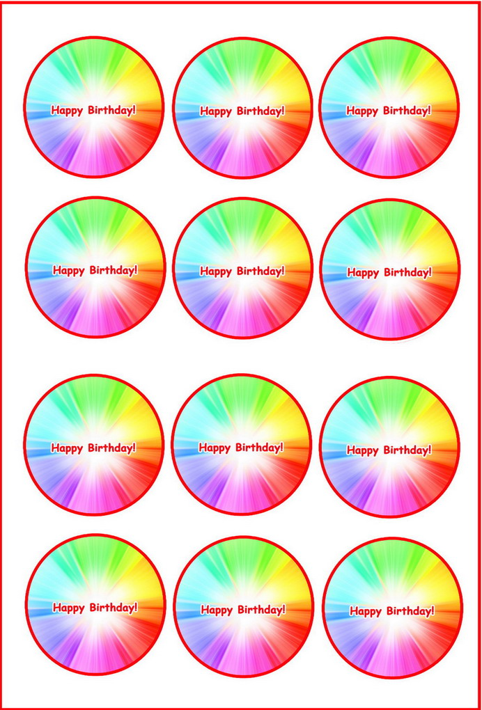 Rainbow Cupcake Toppers Birthday Printable
