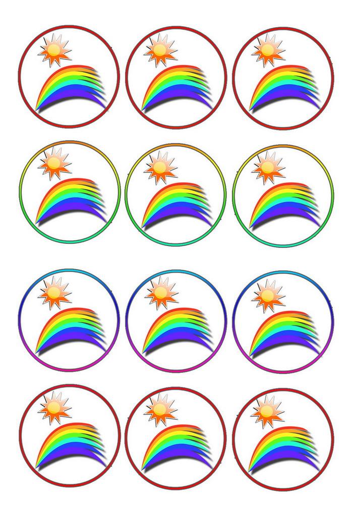 Rainbow Cupcake Toppers Birthday
