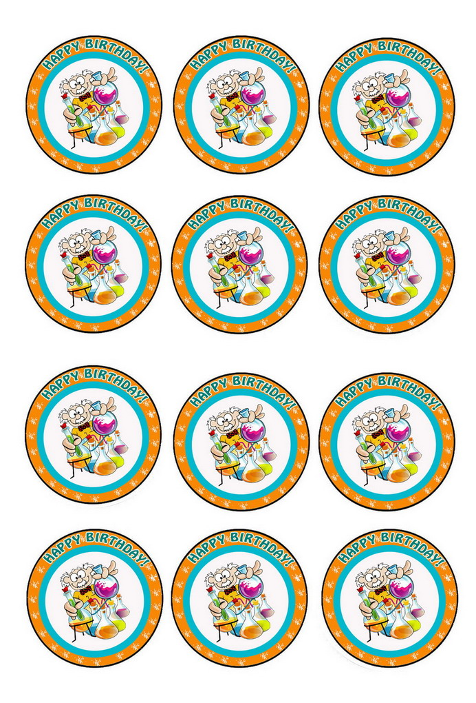 Science Cupcake Toppers Birthday