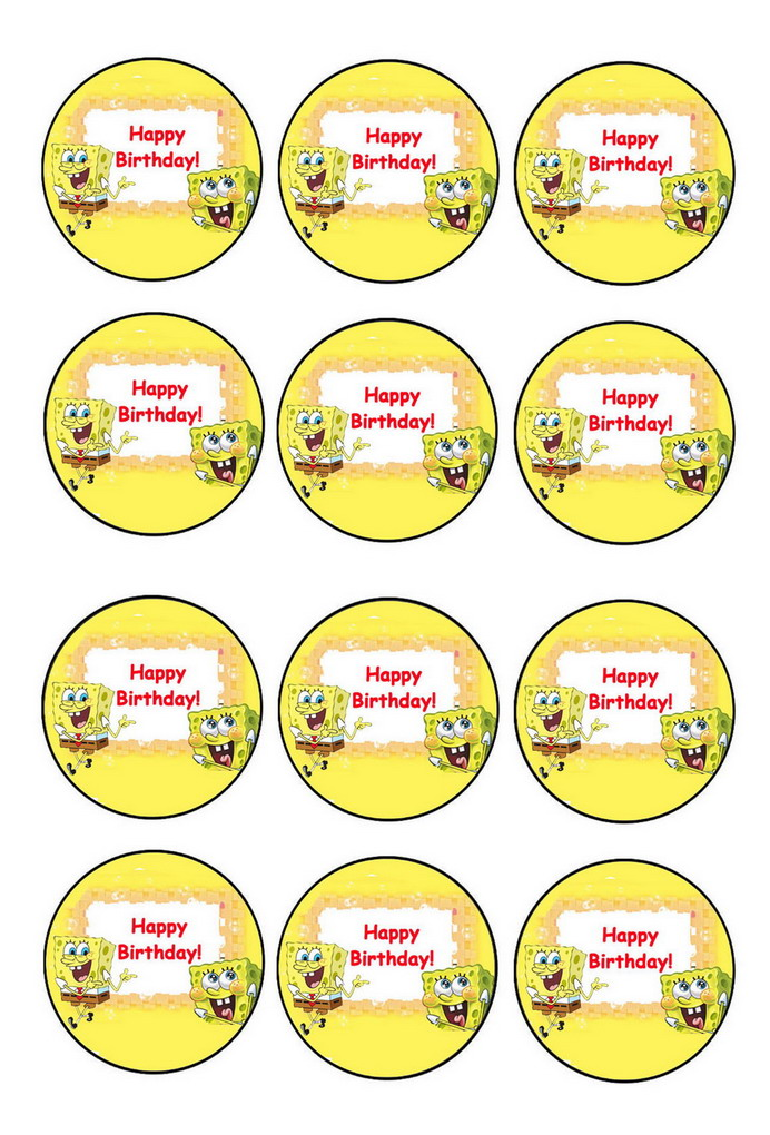 Sponge Bob Cupcake Toppers Birthday Printable