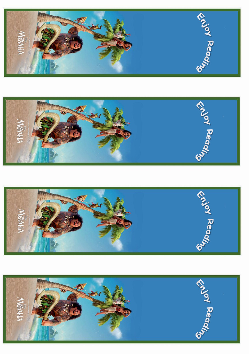 Moana Bookmarks Birthday Printable