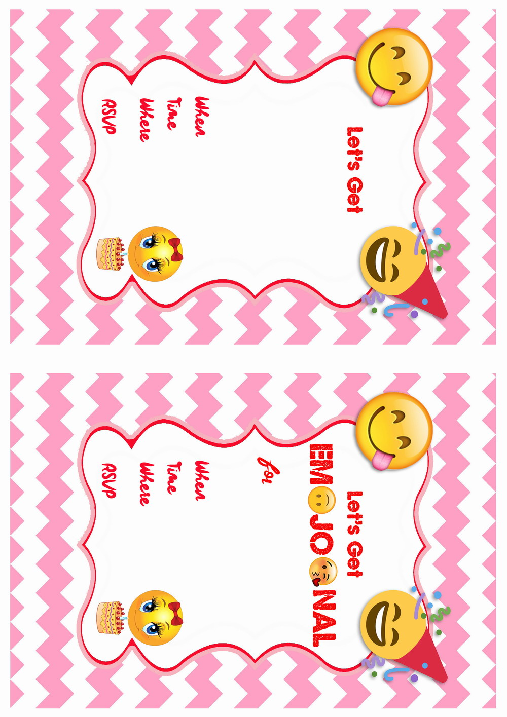 emoji birthday invitations birthday printable