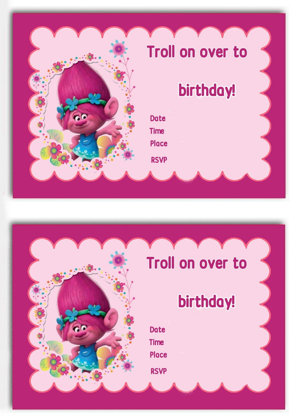 trolls holiday birthday invitations