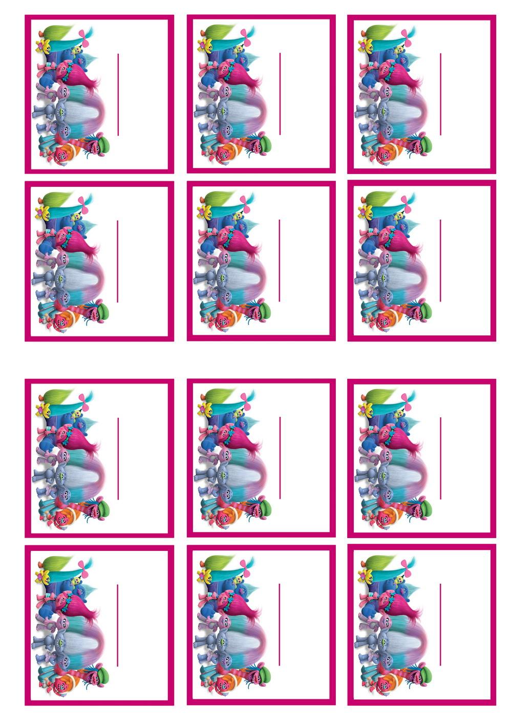 Trolls Holiday Name Tags Birthday Printable