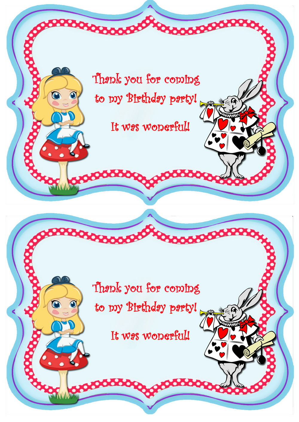 Alice in wonderland thank you cards birthday printable alice thankyou cards2 st pronofoot35fo Images