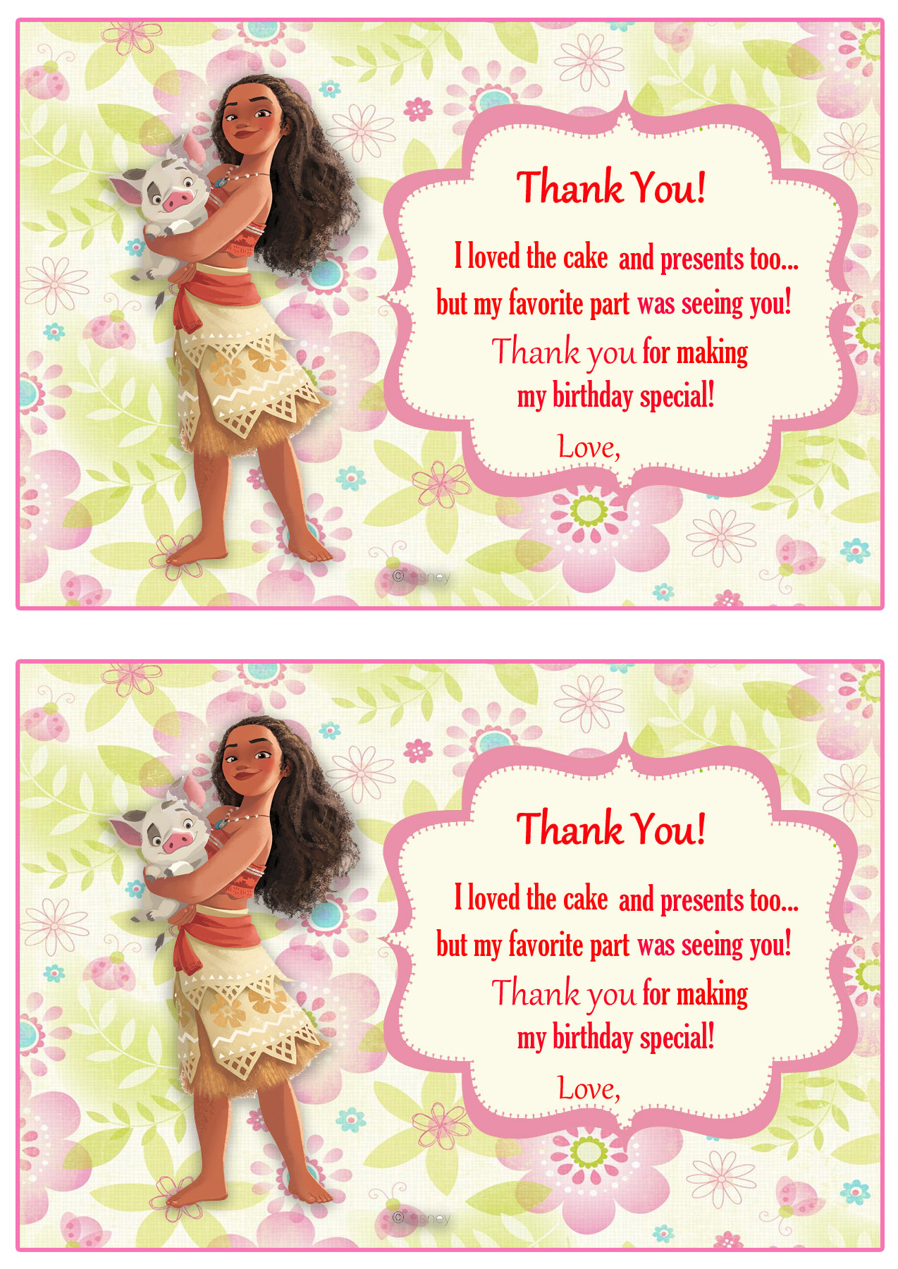 Moana Thank you Cards – Birthday Printable