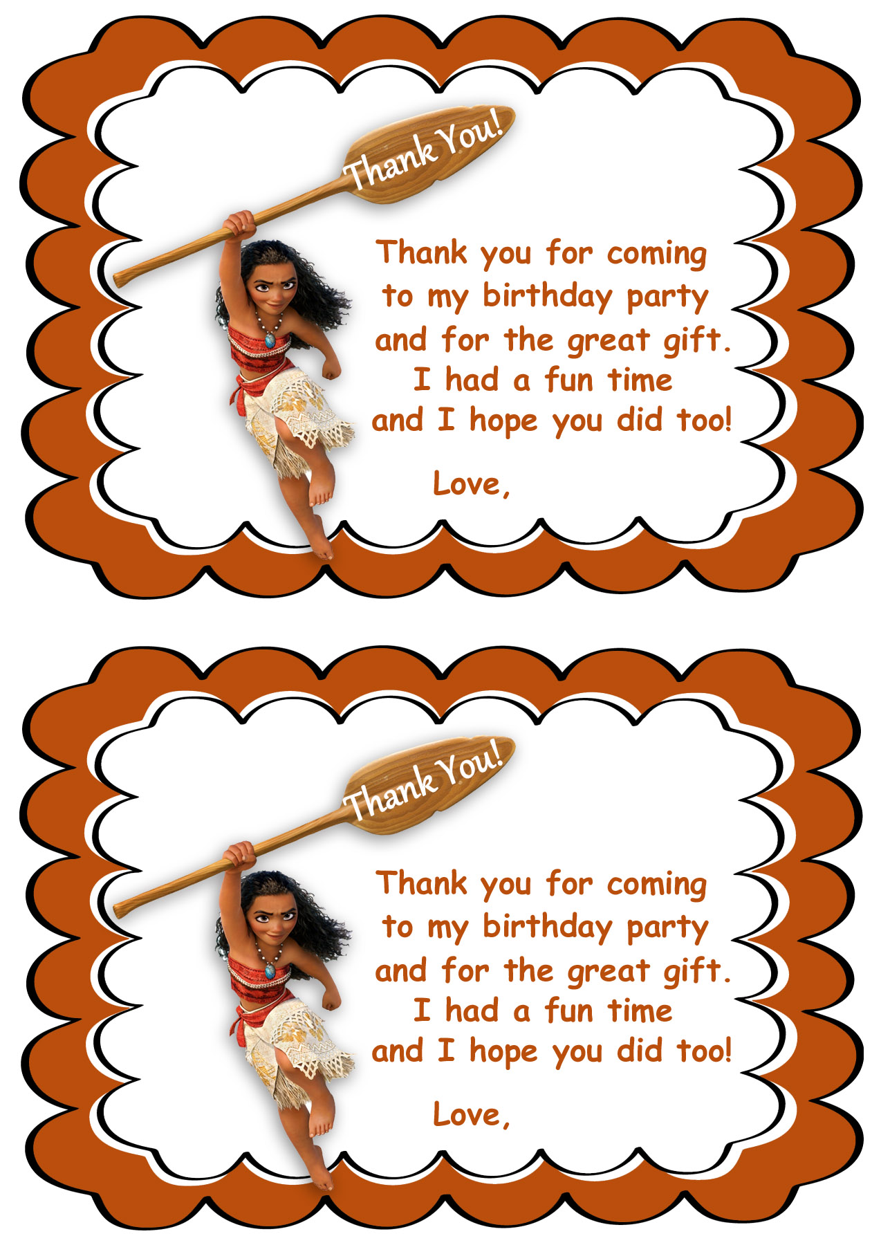 moana thank you cards birthday printable