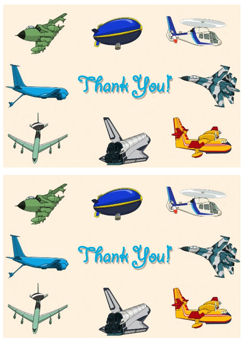 Airplane Thank You Cards Birthday Printable