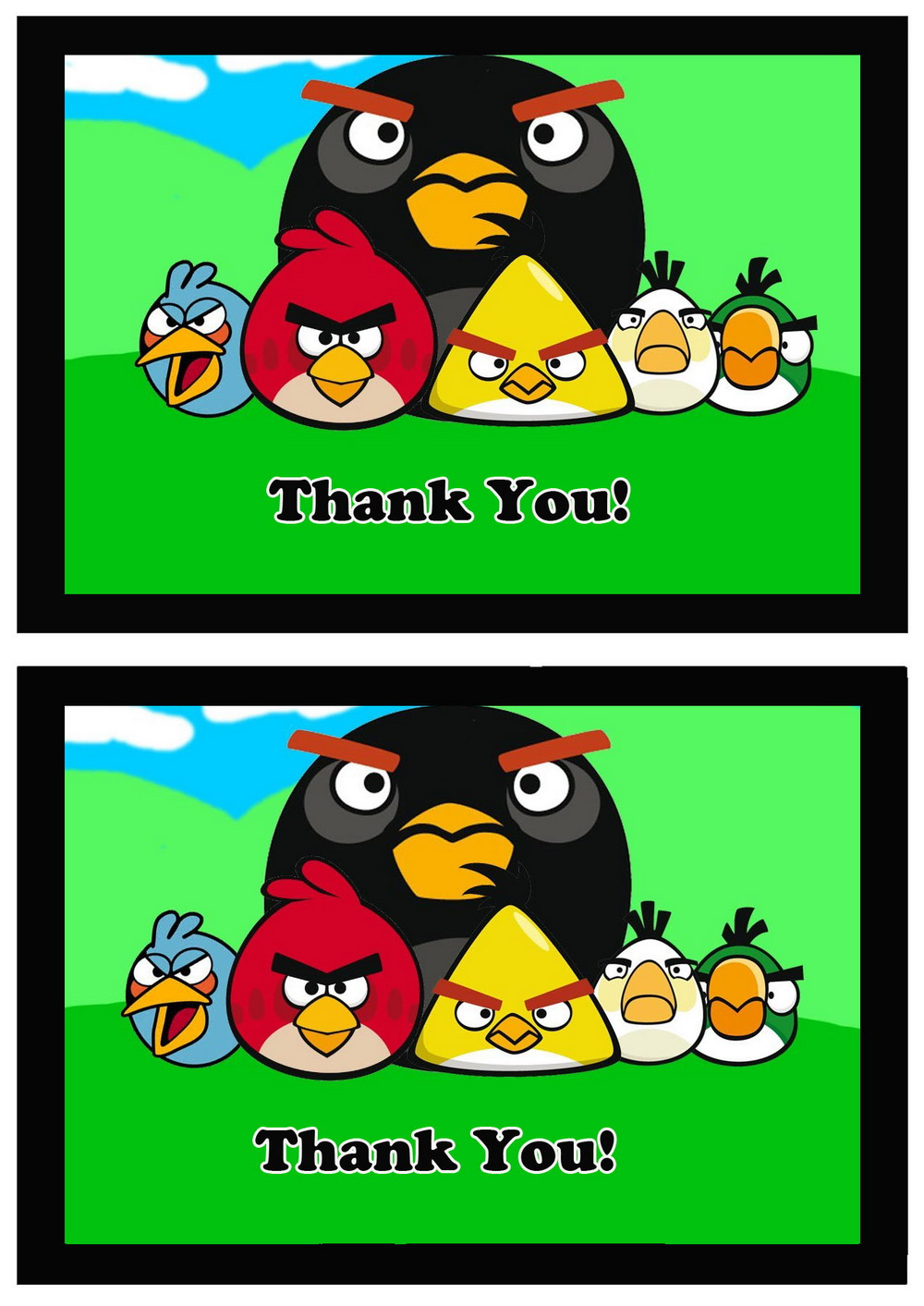 Angry Birds Thank You Cards Birthday Printable
