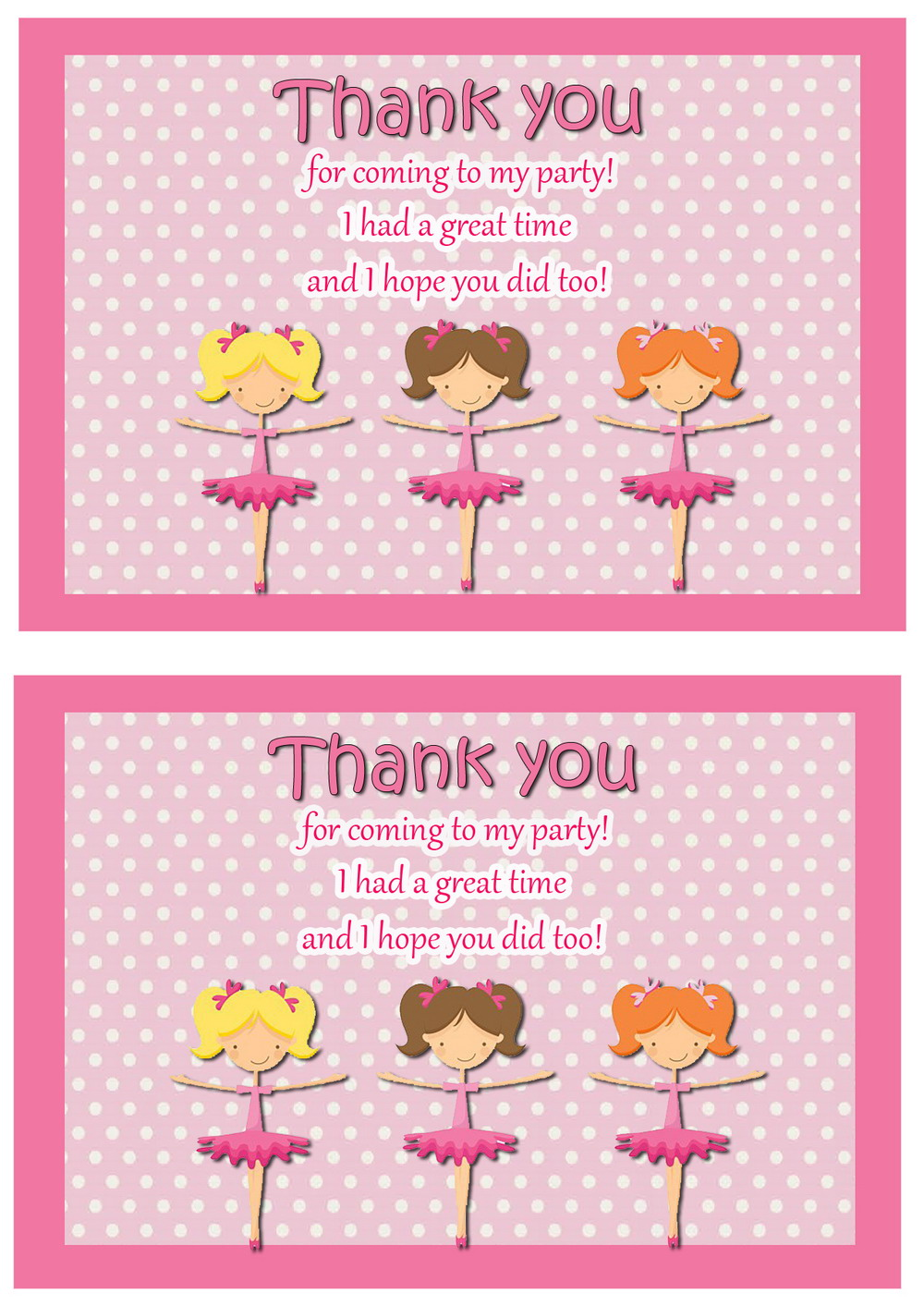 Ballet Thank You Cards Birthday Printable