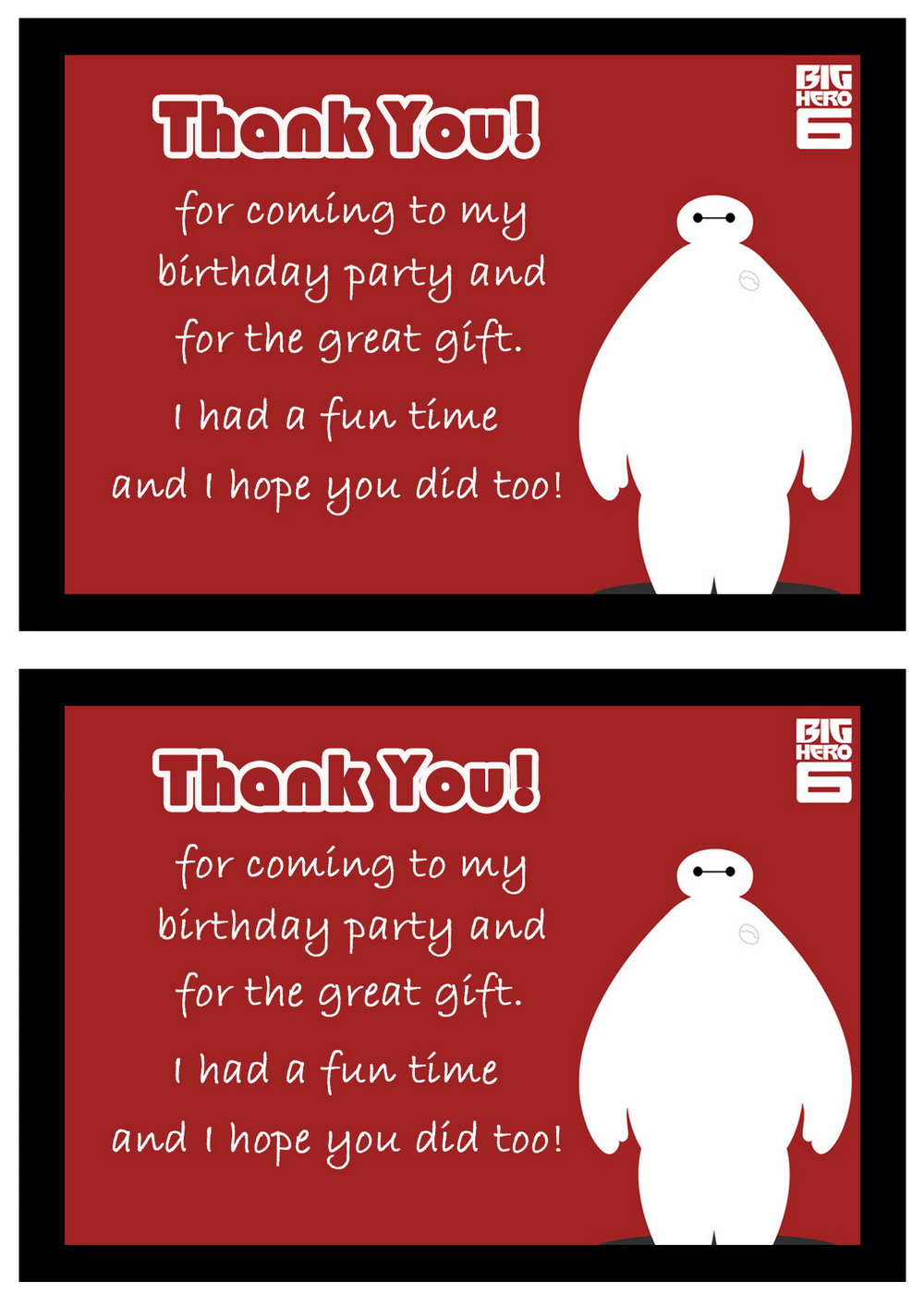 big hero 6 thank you cards