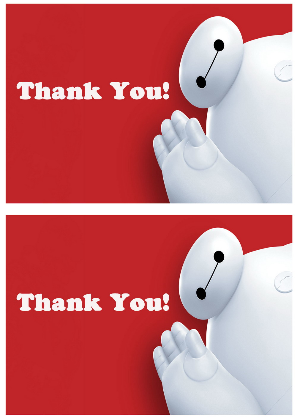 Big Hero 6 Thank You Cards Birthday Printable
