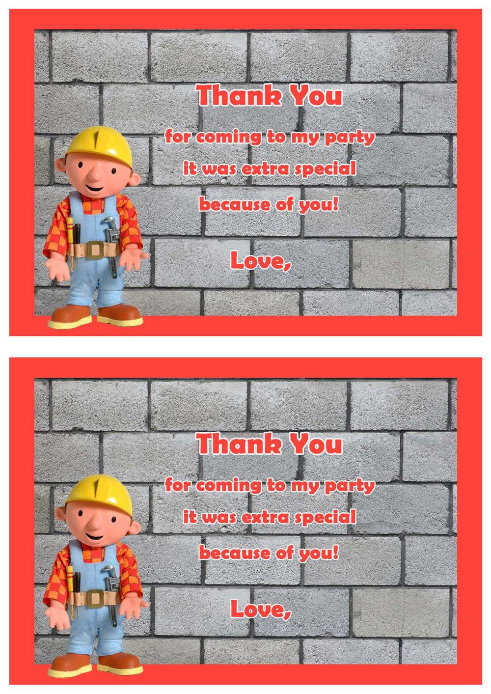 Bob the Builder Thank you Cards