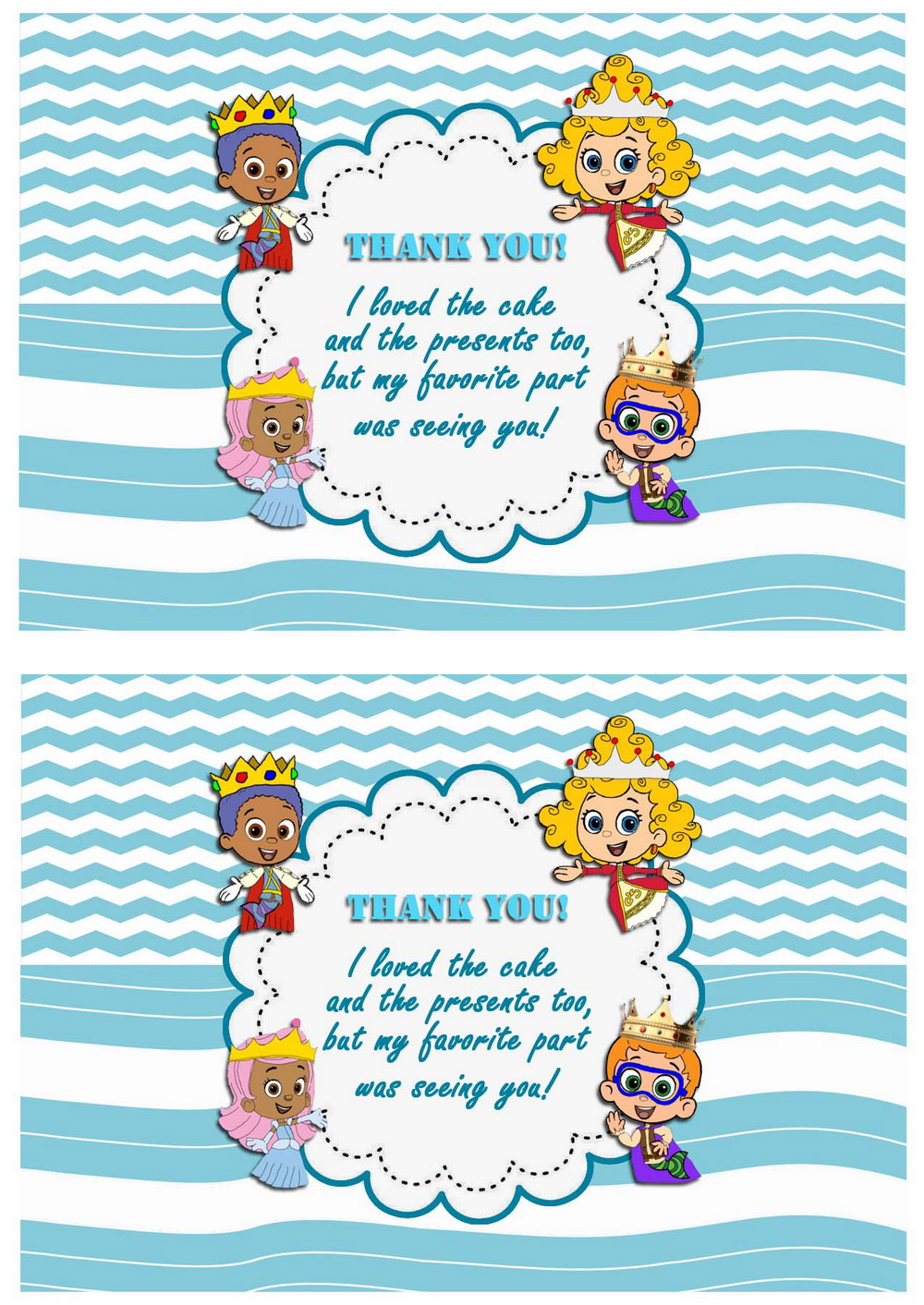 bubble guppies thank you cards u2013 birthday printable