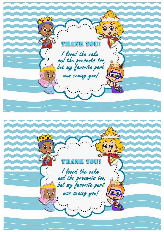 bubble guppies thank you cards u2013 birthday printable