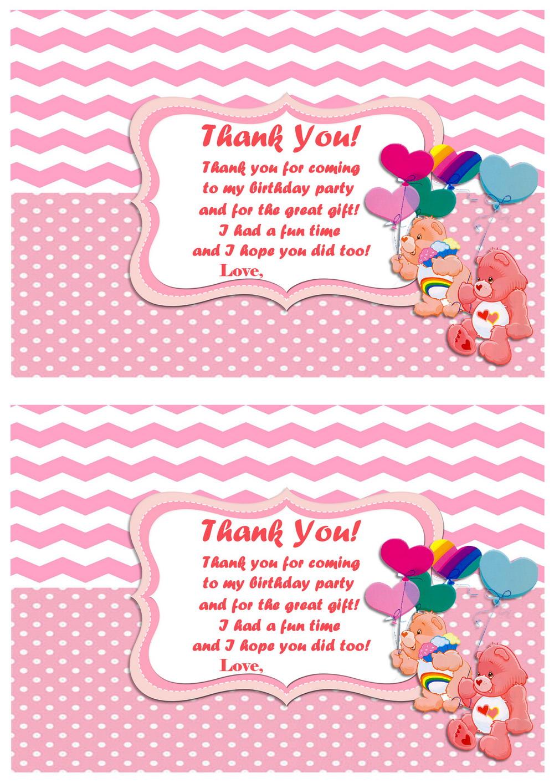 Care Bears Thank you Cards Birthday Printable – Care Bears Birthday Card