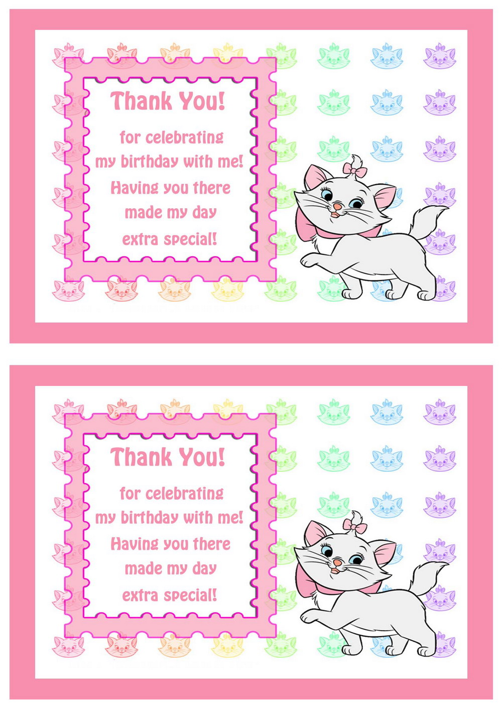 Cat Lovers Thank You Cards Birthday Printable