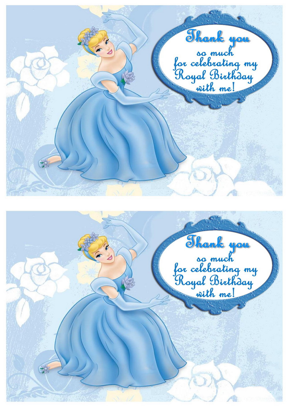 Cinderella Thank You Cards Birthday Printable