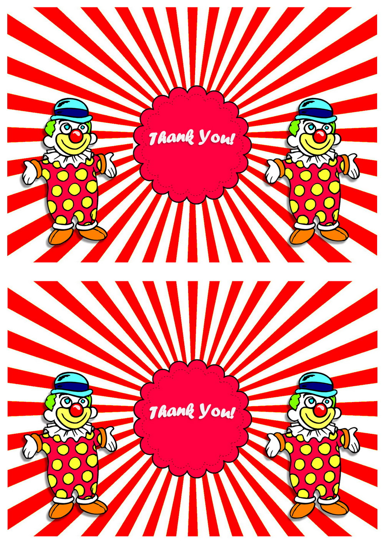 Circus Thank you Cards Birthday
