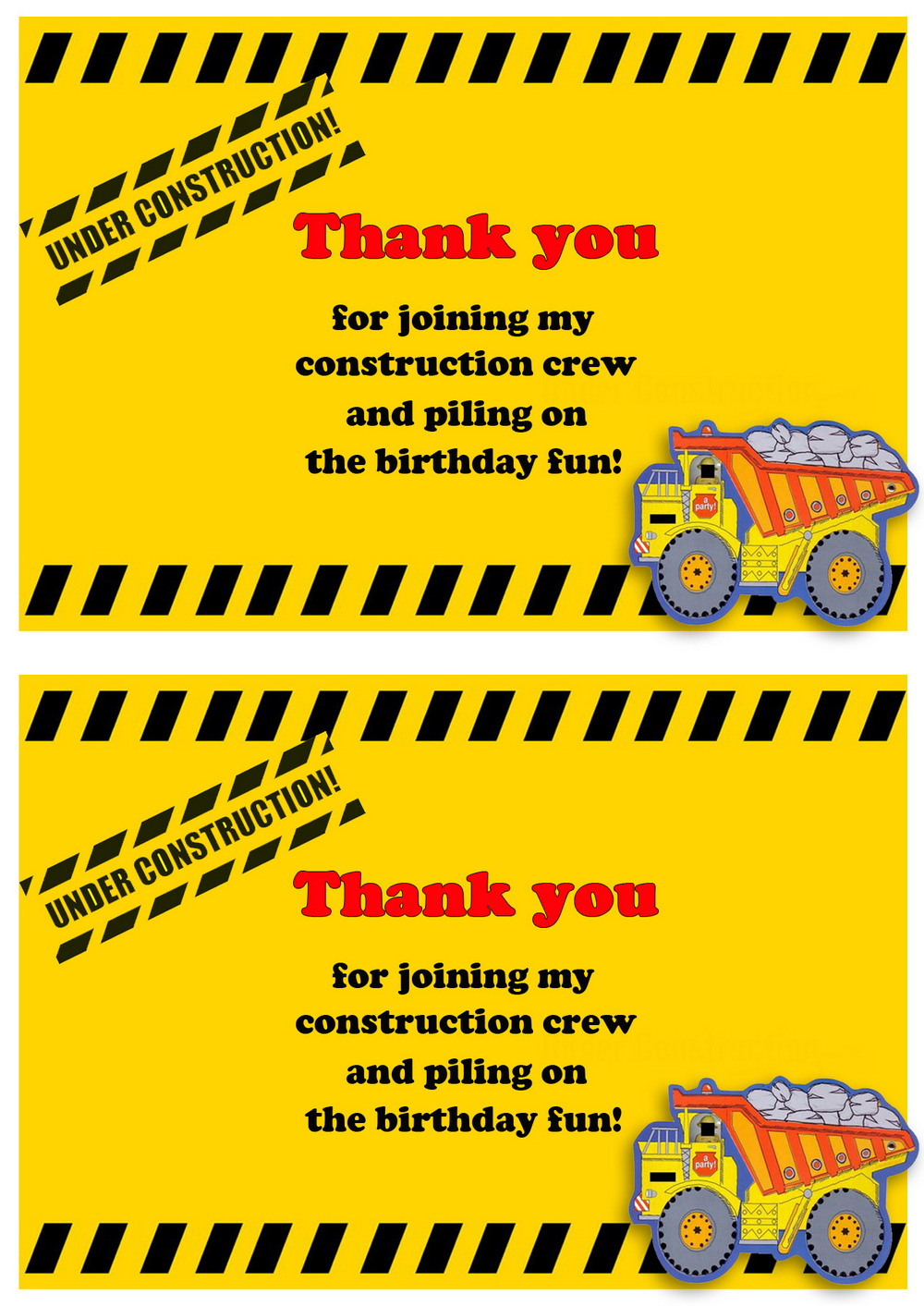 Construction Thank You Cards Birthday Printable