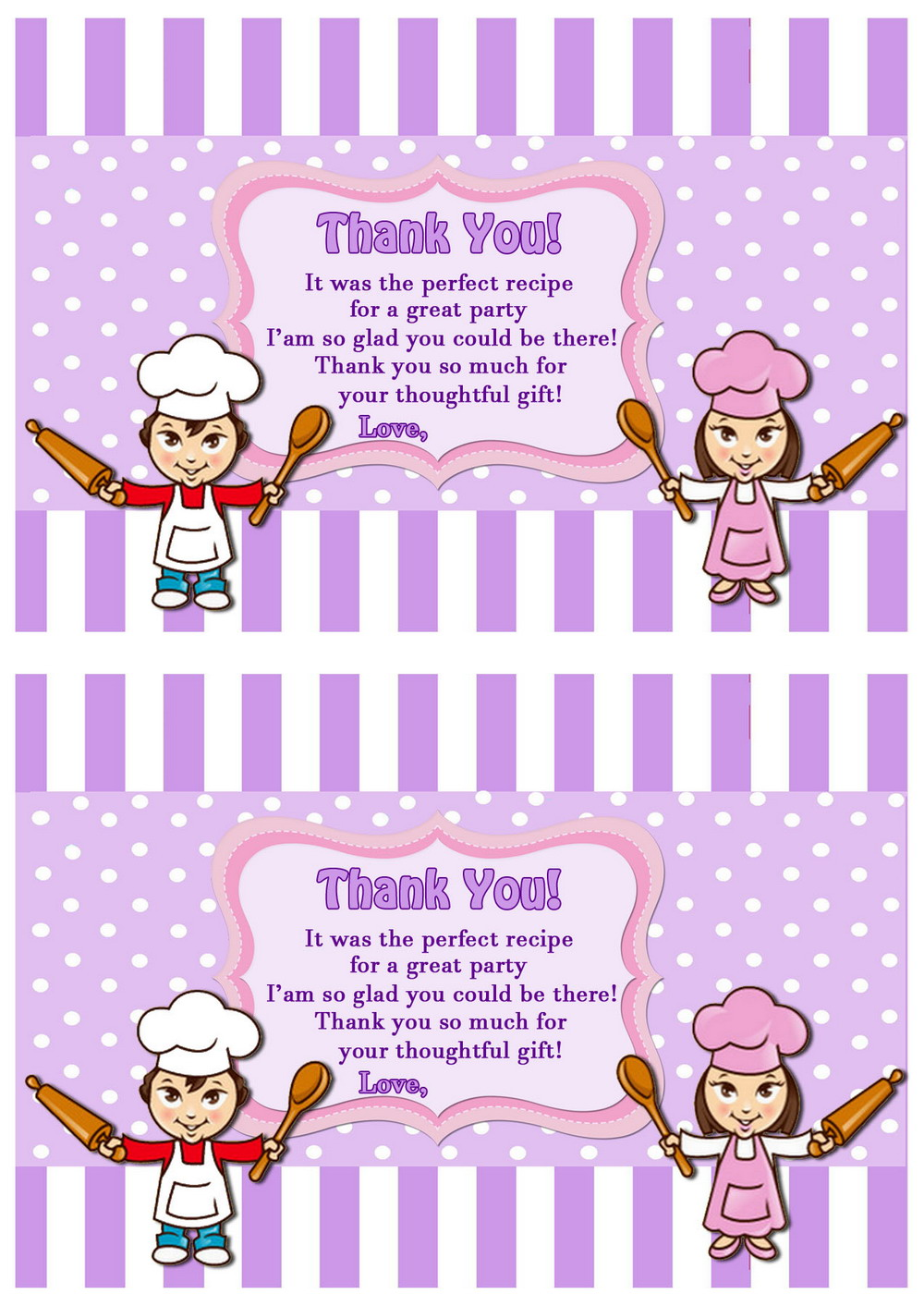 Cooking And Baking Thank You Cards Birthday Printable