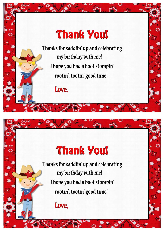 Cowboy Thank You Cards Birthday Printable