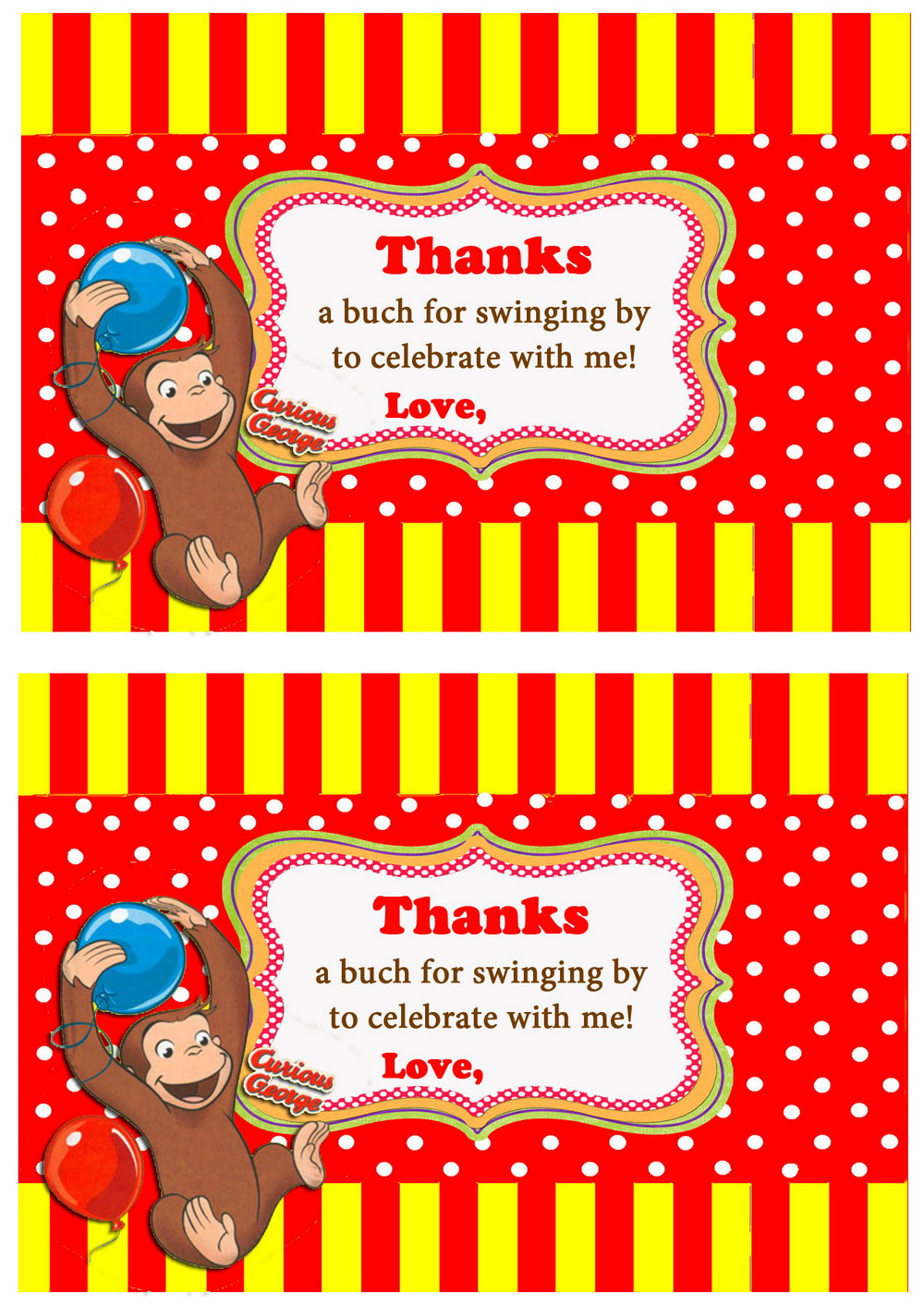 Curious Gee Thank you Cards