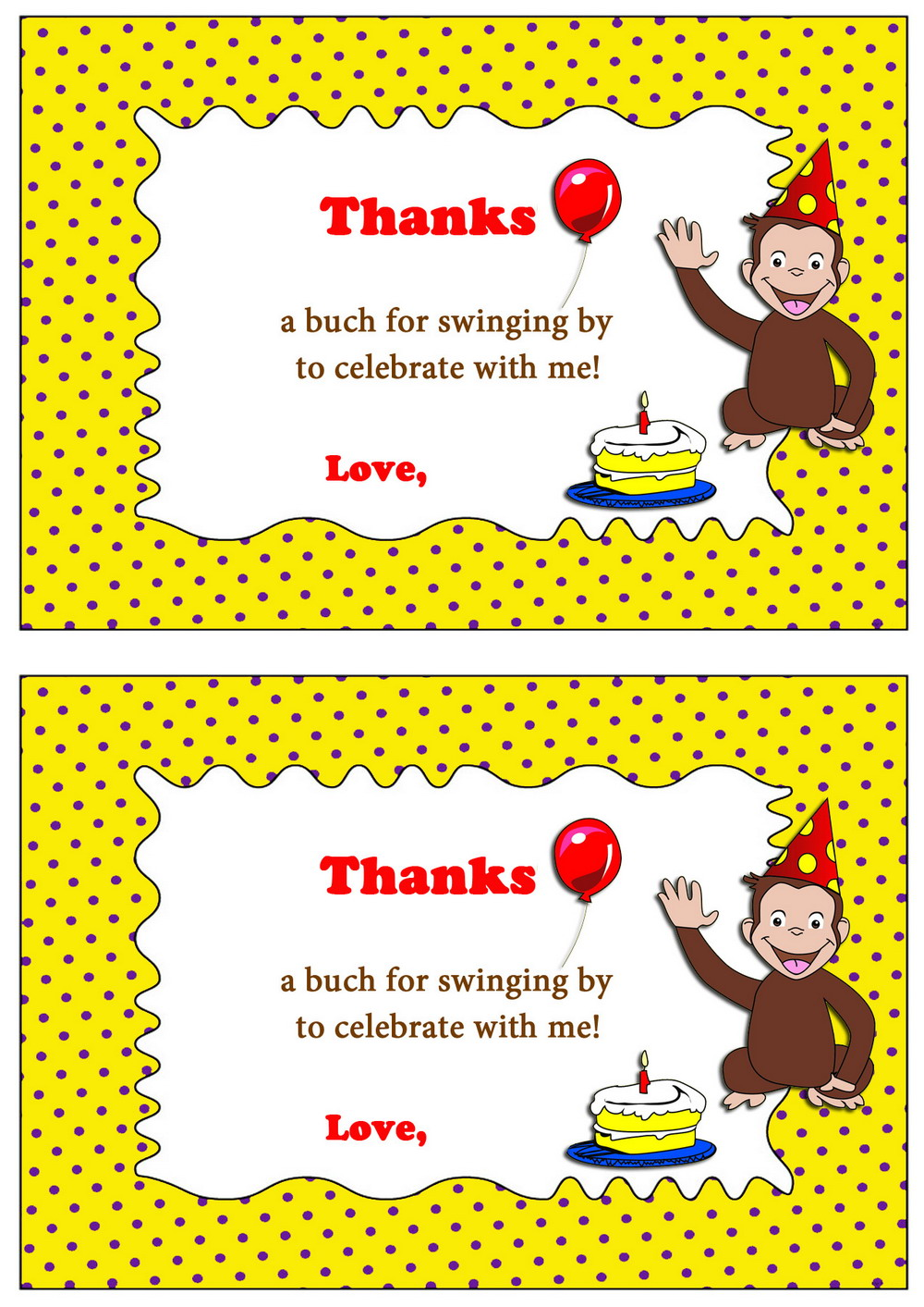 Curious George Thank You Cards Birthday Printable