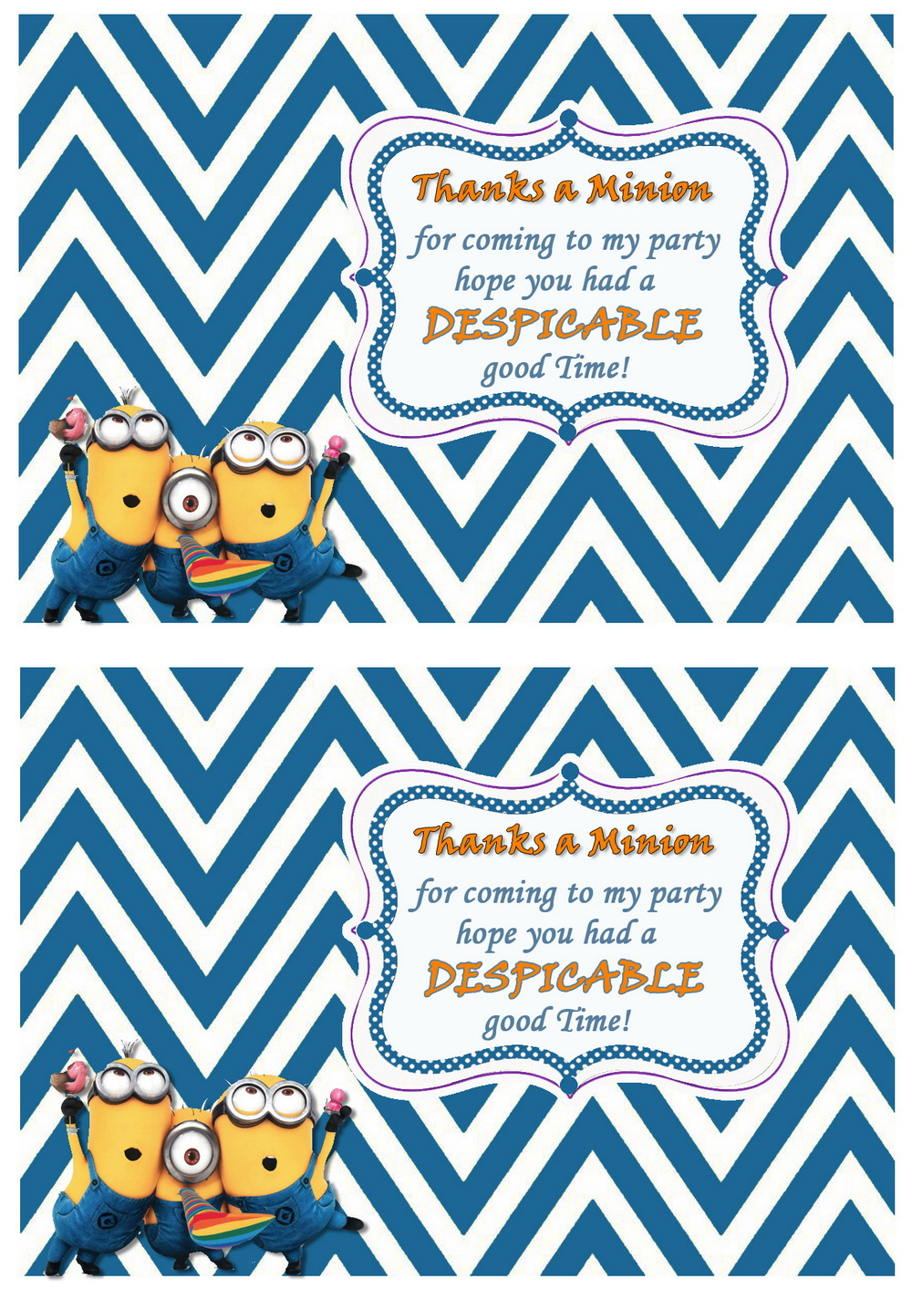 Despicable Me Thank You Cards Birthday Printable