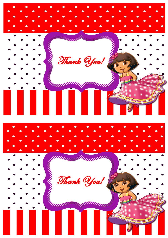 Dora Thank you Cards | Birthday Printable