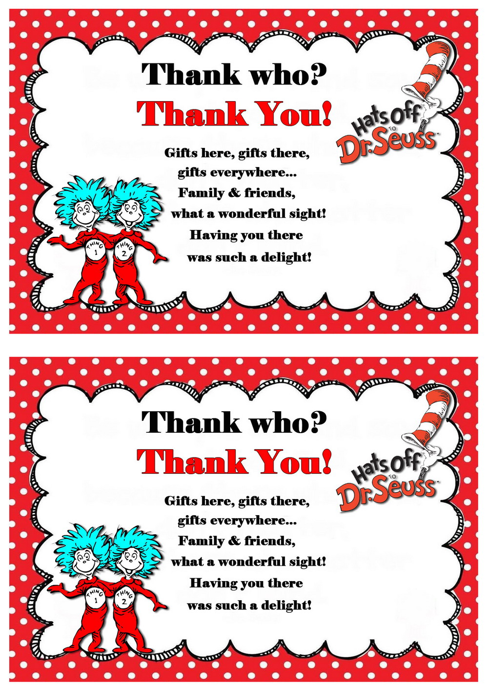 Dr Seuss Thank you Cards Birthday Printable
