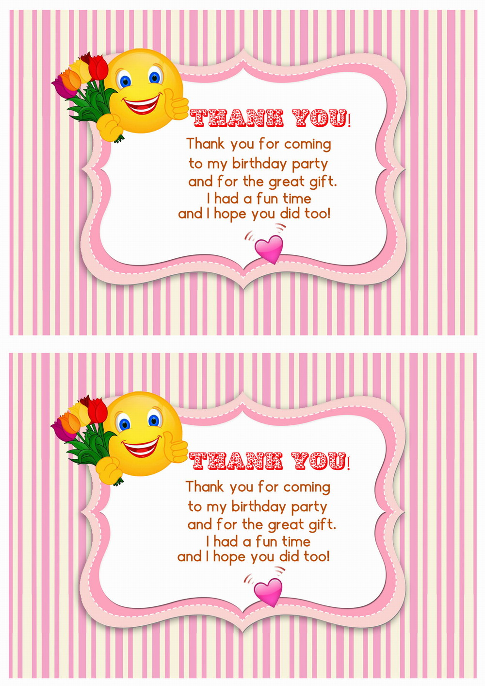 Emoji Thank You Cards Birthday Printable