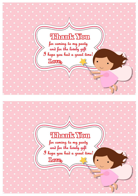 Fairy Thank you Cards Birthday