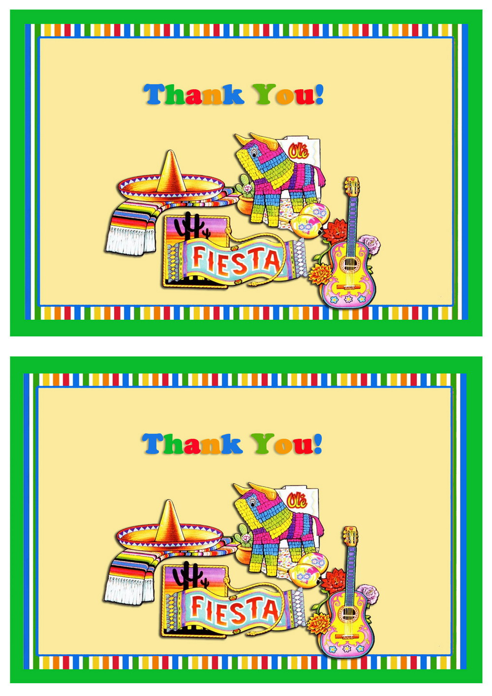 Fiesta Mexican Thank You Cards Birthday Printable