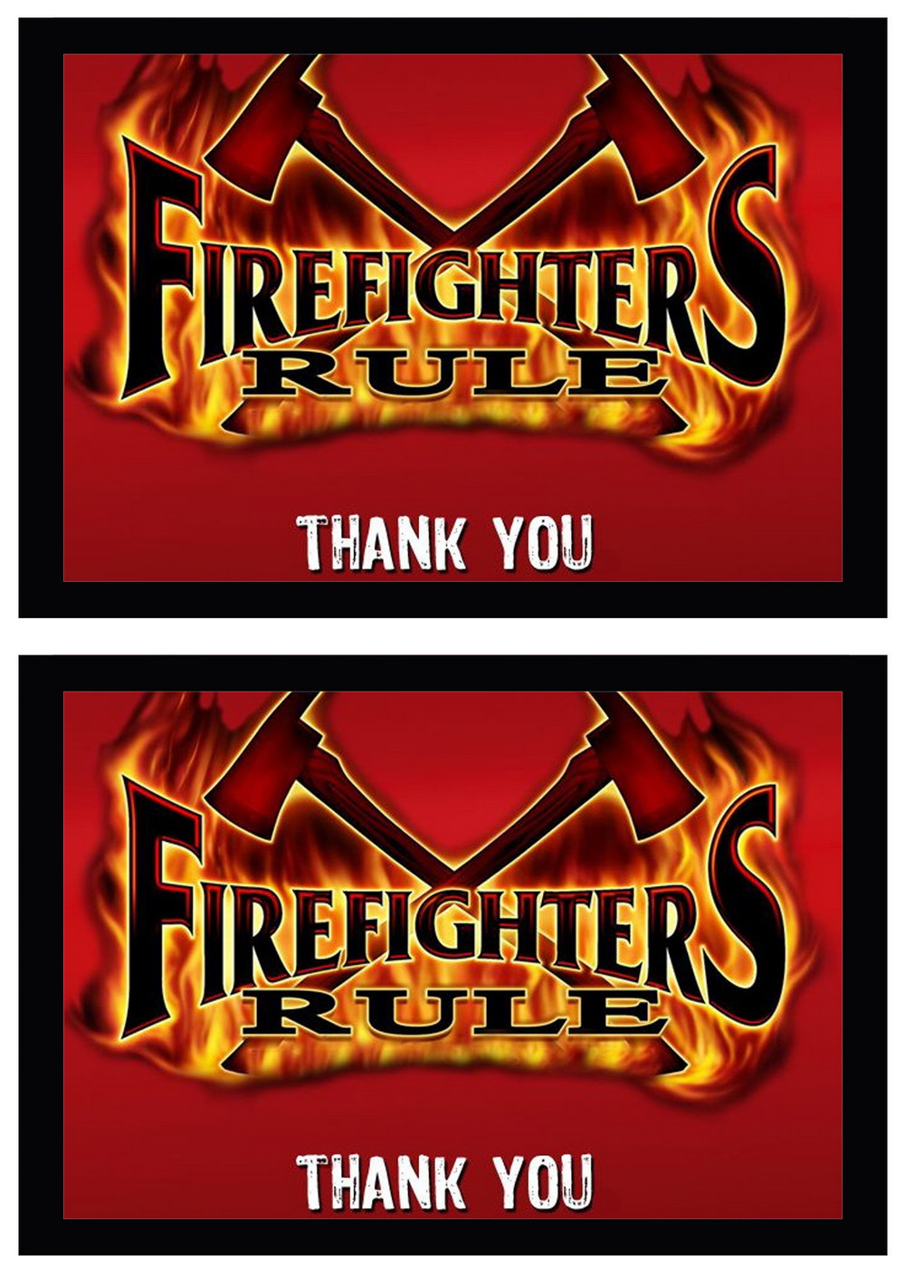 Firefighters Thank You Cards Birthday Printable