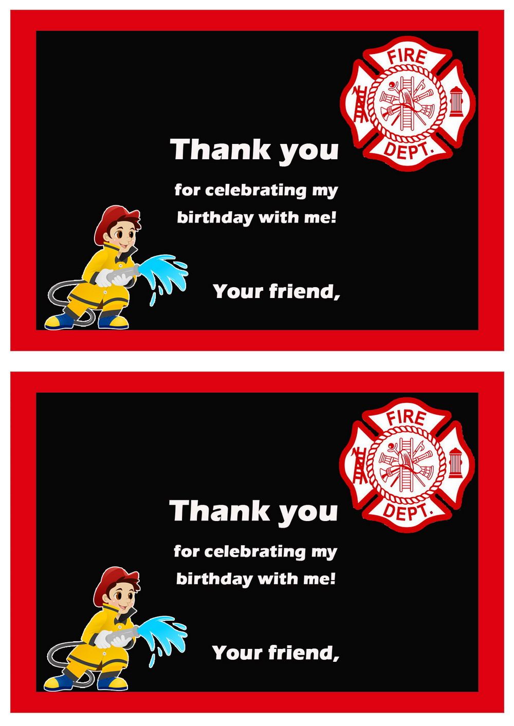 Firefighters Thank you Cards