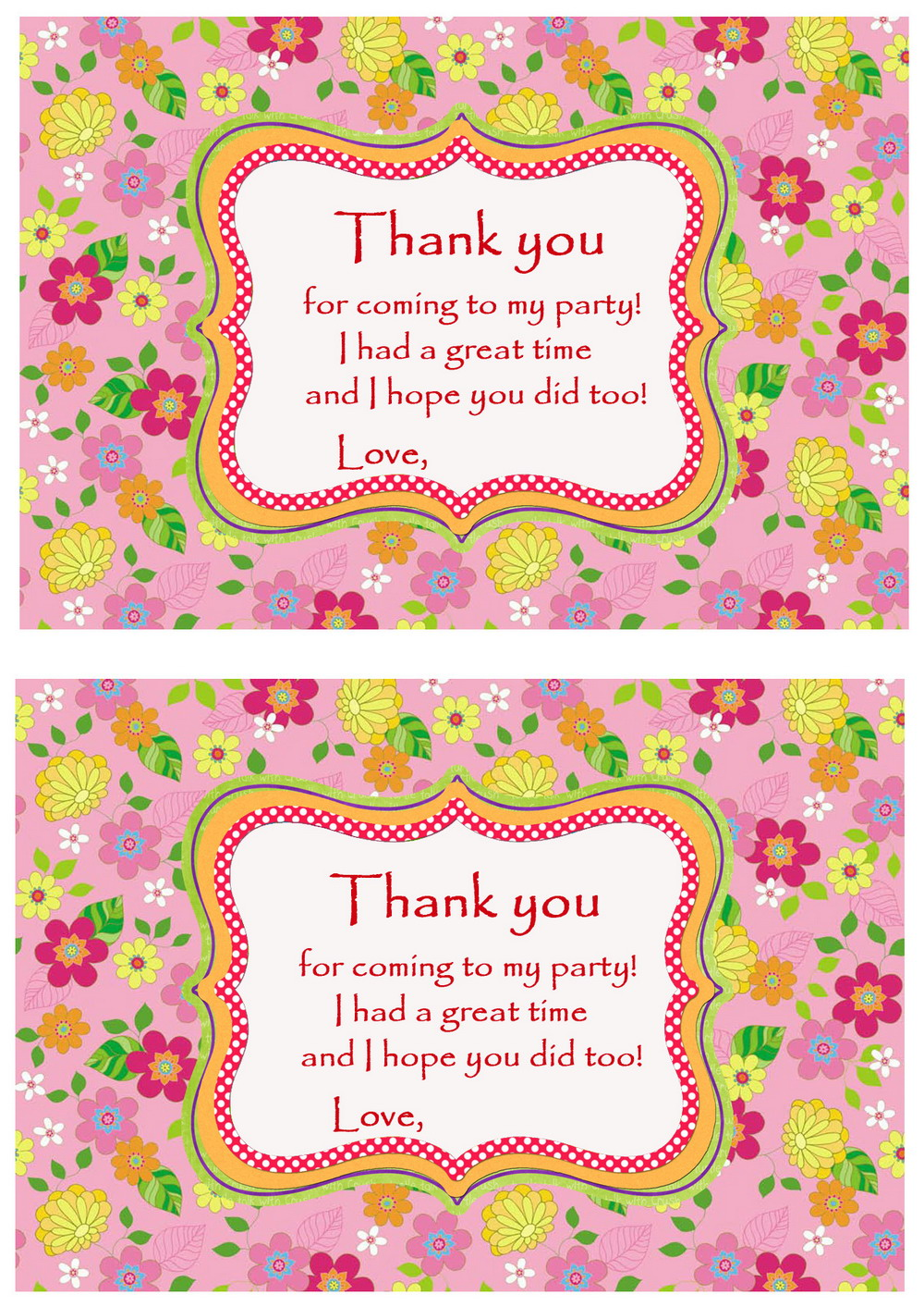 Flowers Thank you Cards Birthday